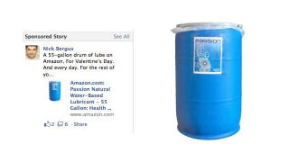 Illustration for article titled Facebook Ads Turn Unsuspecting Man Into Spokesperson for Giant Tub of Lube