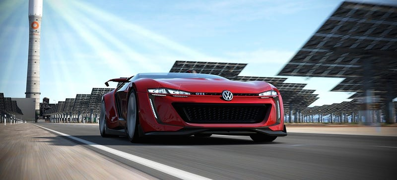 Illustration for article titled The GTI Roadster Vision GT Is A Smushed 503 Horsepower Digital VW