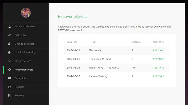 Illustration for article titled How to Recover Deleted Playlists in Spotify