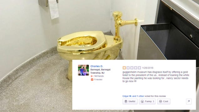 MAGA Chuds Try to Take Down the Guggenheim on Facebook and Yelp Over a Golden Toilet