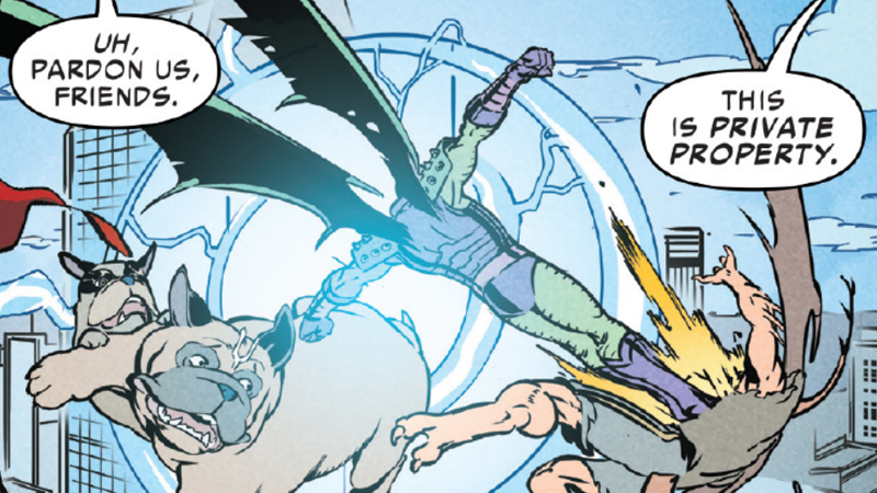 Lockjaw, Annihilus, and D-Man (turned into a half-dragon-man) fighting mid-air. You know, same old same old.