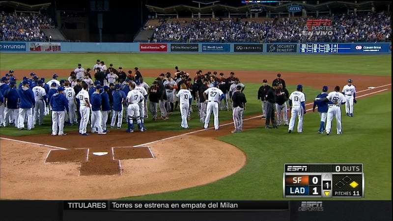 Illustration for article titled Bumgarner Hits Puig, Sets Off Bench-Clearing Panel Discussion