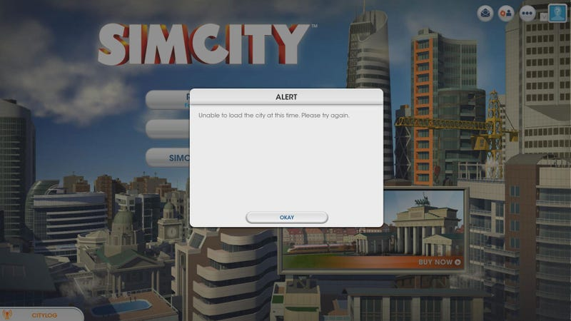 Illustration for article titled SimCity Designer's GDC Talk Started With... An Error Message