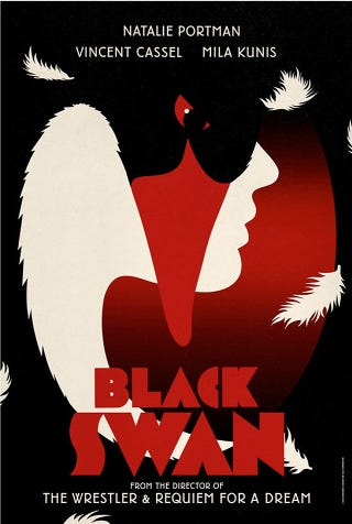Illustration for article titled Frighteningly Beautiful Black Swan Posters Inspired By Vintage Graphic Design