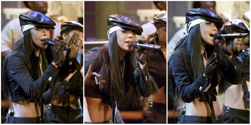 Aaliyah at The Tonight Show With Jay Leno at NBC Studios in Burbank, Calif, on July 25, 2001