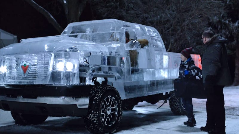 Illustration for article titled This pickup truck is made of ice and you can actually drive it