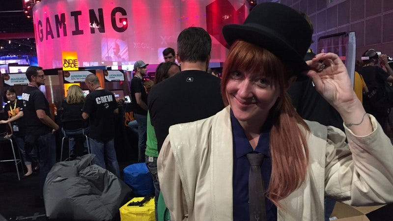 Funomena CEO Robin Hunicke tips her hat to Gameological readers at the E3 booth for her upcoming game, Wattam.
