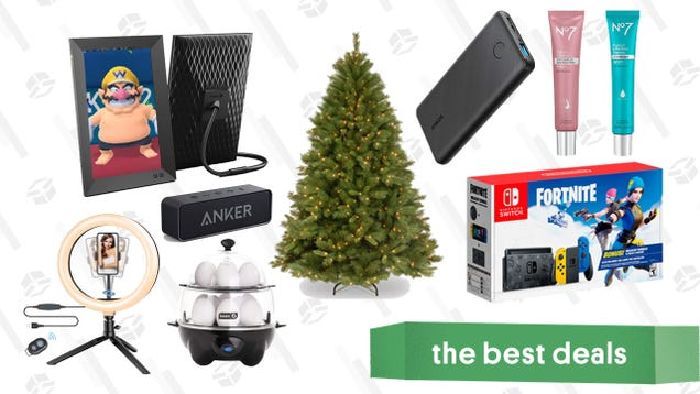Monday s Best Deals: Lighted Pine Tree, Fortnite Switch, Nixplay Digital Frames, No7 Serum Sale, Anker Charger Gold Box, and More