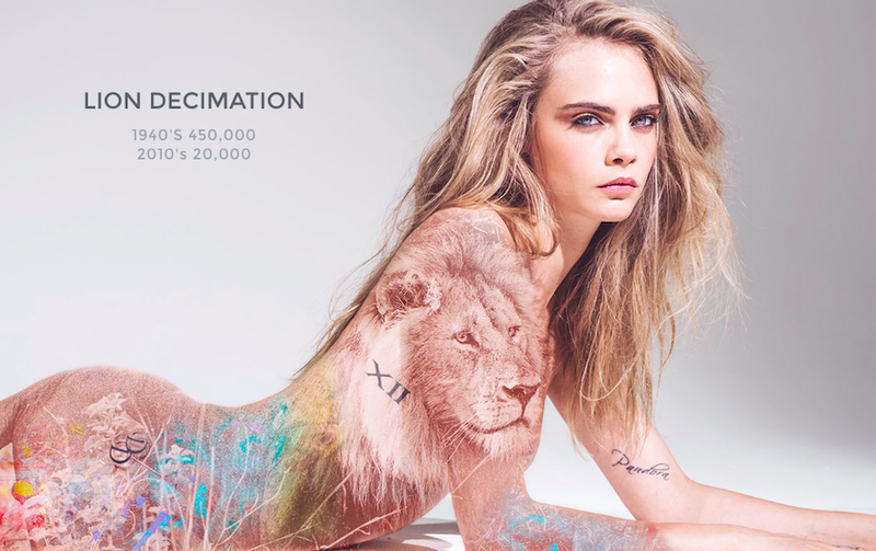 Illustration for article titled Cara Delevingne's Anti-Poaching Campaign Empowers Animals and Women, Somehow