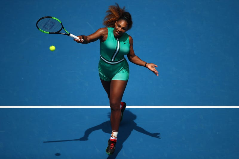 Serena Williams plays forehand in her first round match against Tatjana Maria of Germany during the 2019 Australian Open on January 15, 2019 in Melbourne, Australia.