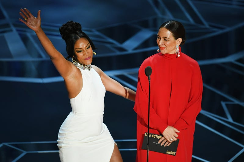 Tiffany Haddish and Maya Rudolph onstage during the Oscars on March 4, 2018, in Hollywood, Calif.