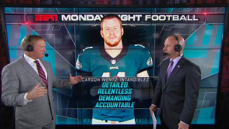 Monday Night Football color commentator Jon Gruden (left) discusses the intangibles of Philadelphia quarterback Carson Wentz with announcer Sean McDonough (Screenshot: ESPN)