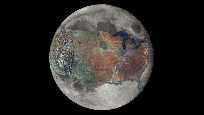 And now for a sense of scale: a map of the U.S. overlaid on the Moon