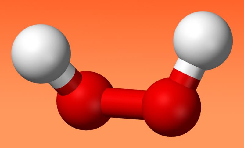 Una molécula de peróxido de hidrógeno (agua oxigenada). Imagen: Wikimedia Commons