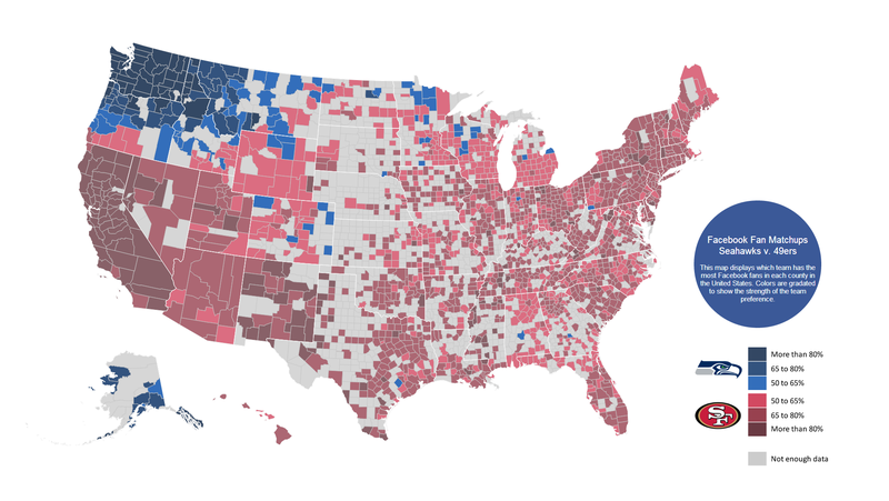 Illustration for article titled Facebook Fandom Maps Show Who America Is Rooting For This Sunday