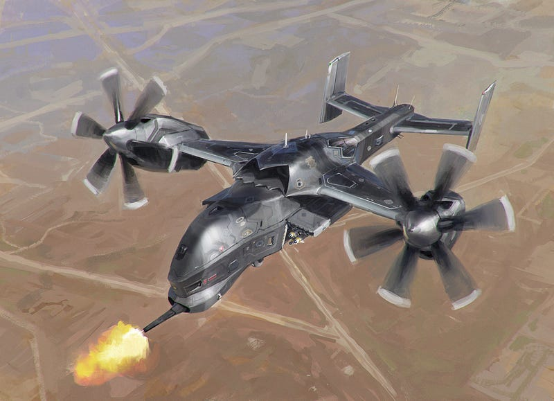 Illustration for article titled Expect this kind of giant drone gunship in the next decade
