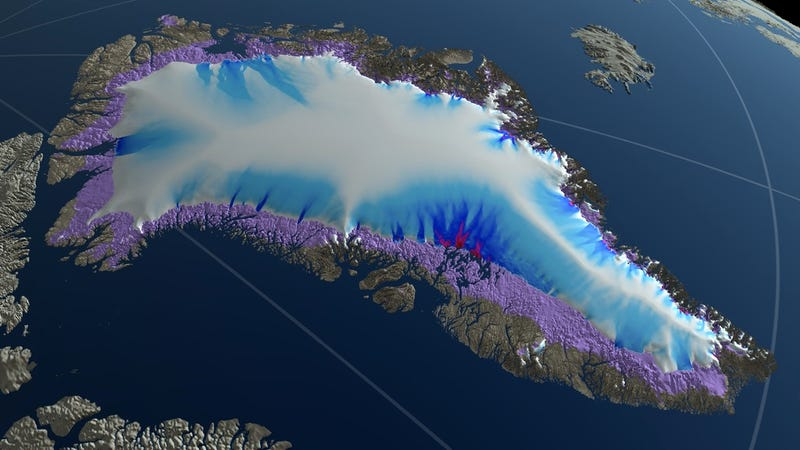 Projected extent of the Greenland ice sheet in 2300 under a high carbon emissions scenario. Regions in violet are exposed bedrock that was ice-covered in 2008.