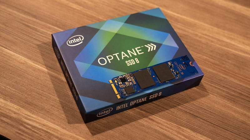 An Intel Optane SSD using NVMe, don't worry all those terms will be explained shortly.