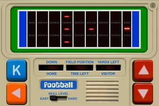Illustration for article titled Retrotastic Electronic Football Game For The iPhone