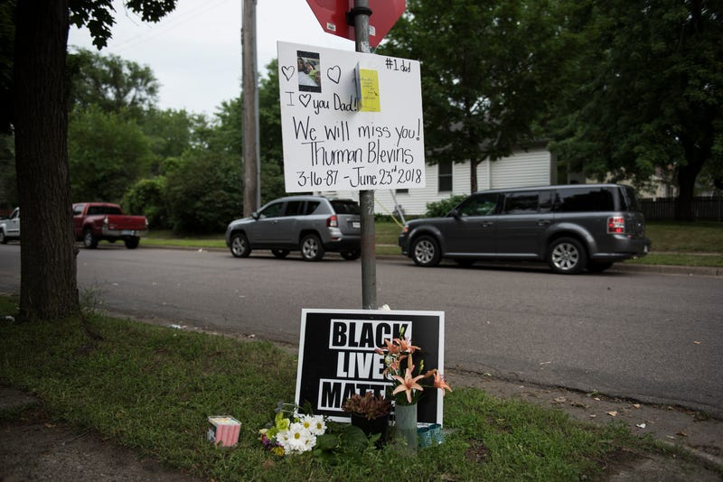 A memorial site for Thurman Blevins is seen on June 24, 2018 in Minneapolis, Minnesota. Blevins, 31, was shot and killed yesterday after an altercation with Minneapolis Police.