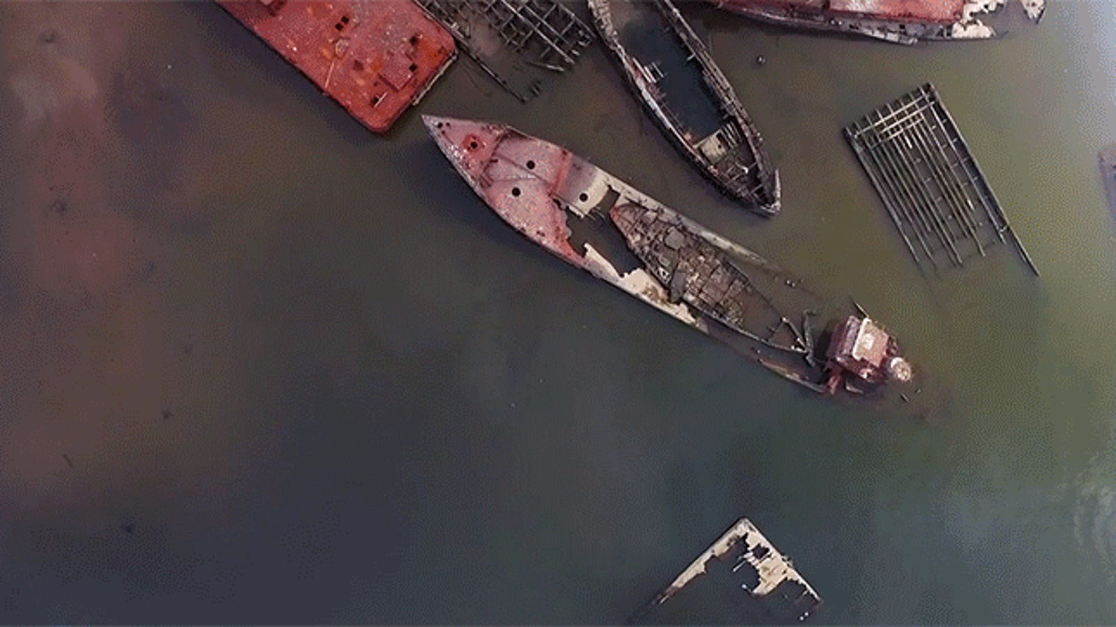 Hauntingly Beautiful Drone Footage of a Boat Graveyard
