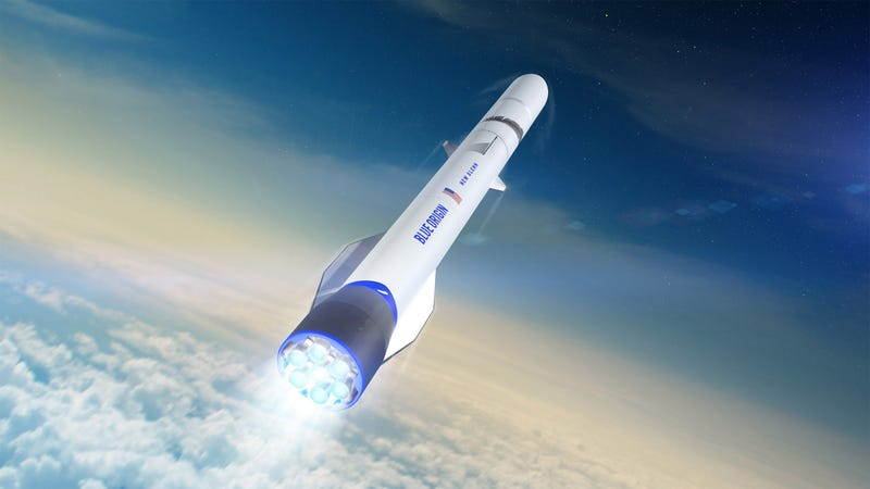 Artist's depiction of New Glenn, a rocket currently being developed by the Jeff Bezos-led aerospace firm Blue Origin.