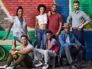 The cast of The Chi, clockwise from top left: Yolonda Ross as Jada,  Tiffany Boone as Jerrika, Jason Mitchell as Brandon, Armando Riesco as  Detective Cruz;  Ntare Guma Mbaho Mwine as Ronnie, Alex Hibbert as Kevin  and Jacob Latimore as Emmett (Showtime)