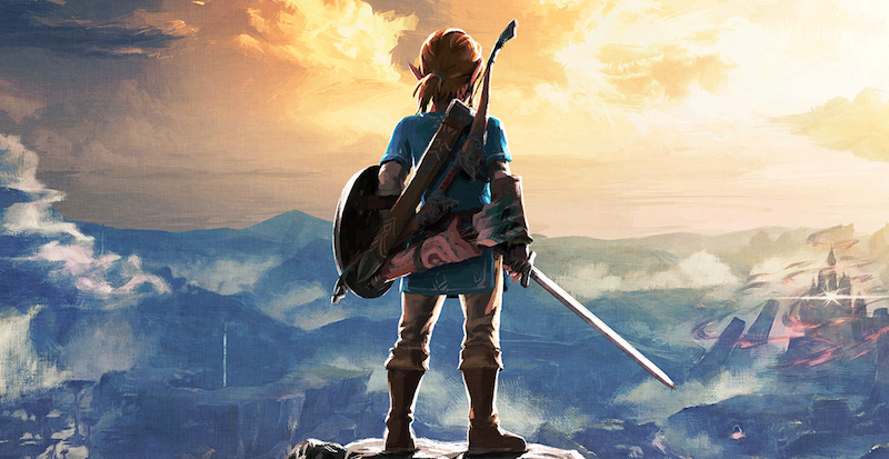 Pictured: Link looking out at Hyrule, hoping his Sheikah Slate has backup saves.