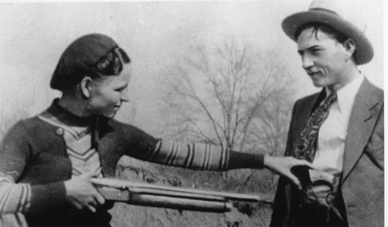 An undated photo of Bonnie Parker and Clyde Barrow. Photo via AP