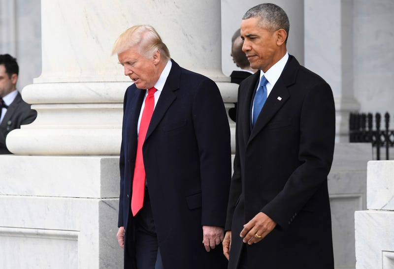 President Donald Trump and former President Barack Obama walk out prior to Obama's departure during the 2017 presidential inauguration at the U.S. Capitol Jan. 20, 2017, in Washington, D.C. (Jack Gruber-Pool/Getty Images)