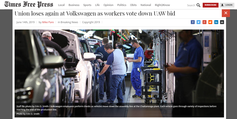 Illustration for article titled Volkswagen USA Workers Vote Against UAW Representation