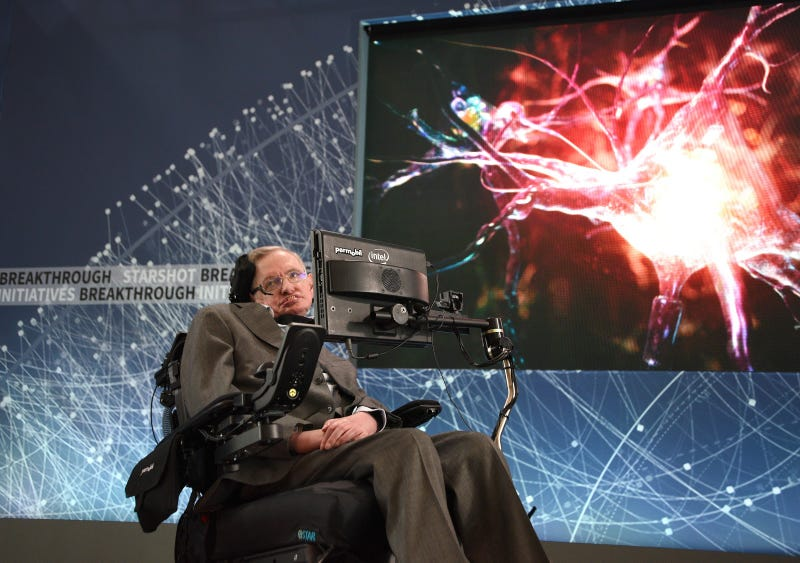 Stephen Hawking speaks at the One World Observatory in New York City to announce Breakthrough Starshot, a new space exploration initiative on April 12, 2016.