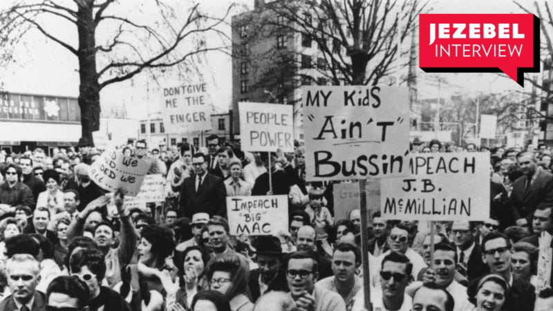 Almost 2,000 white people gathered at a 1970 protest in Charlotte, N.C. against a court-ordered desegregation busing plan.