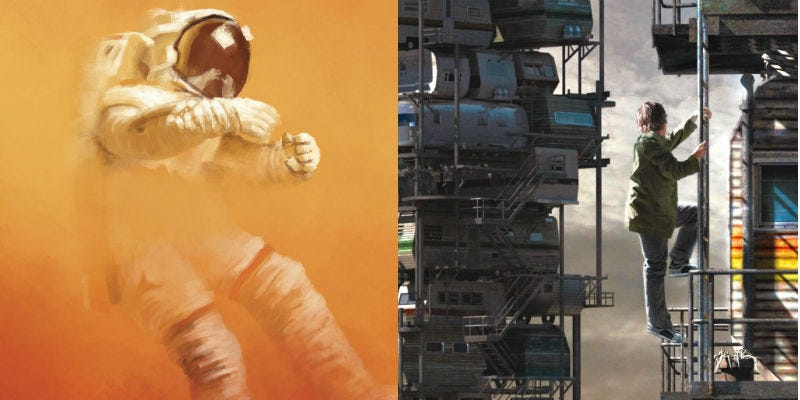 The Martian book cover reimagined by ormanator; Ready Player One book cover.