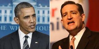 President Barack Obama (Brendan Smialowski/Getty Images); Sen. Ted Cruz (R-Texas) (Gage Skidmore/Wikemedia Commons)