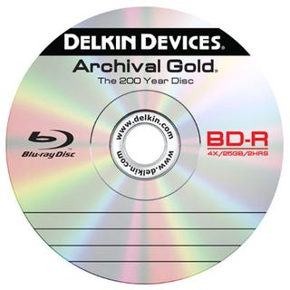 Illustration for article titled Delkin Archival Gold Blu-Ray Discs Keep Your Data Good for Two Centuries