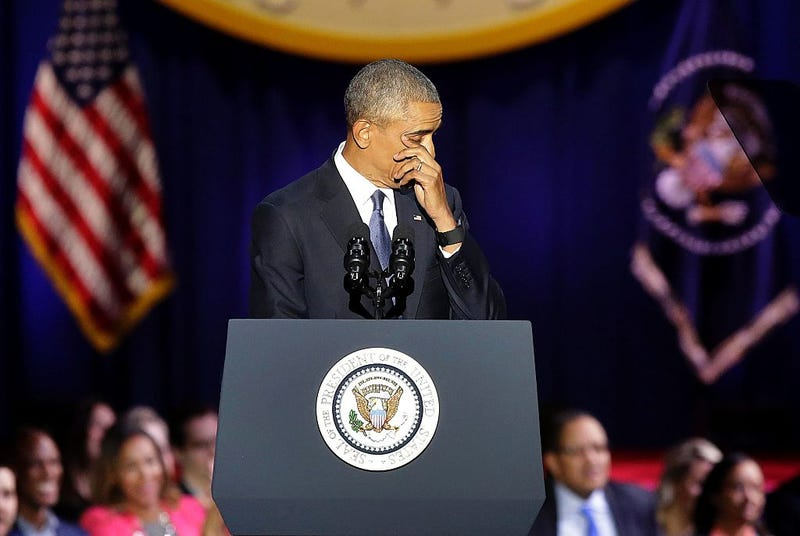 President Barack Obama wipes away a tear as he speaks during his farewell address in Chicago on Jan. 10, 2017.JOSHUA LOTT/AFP/Getty Images
