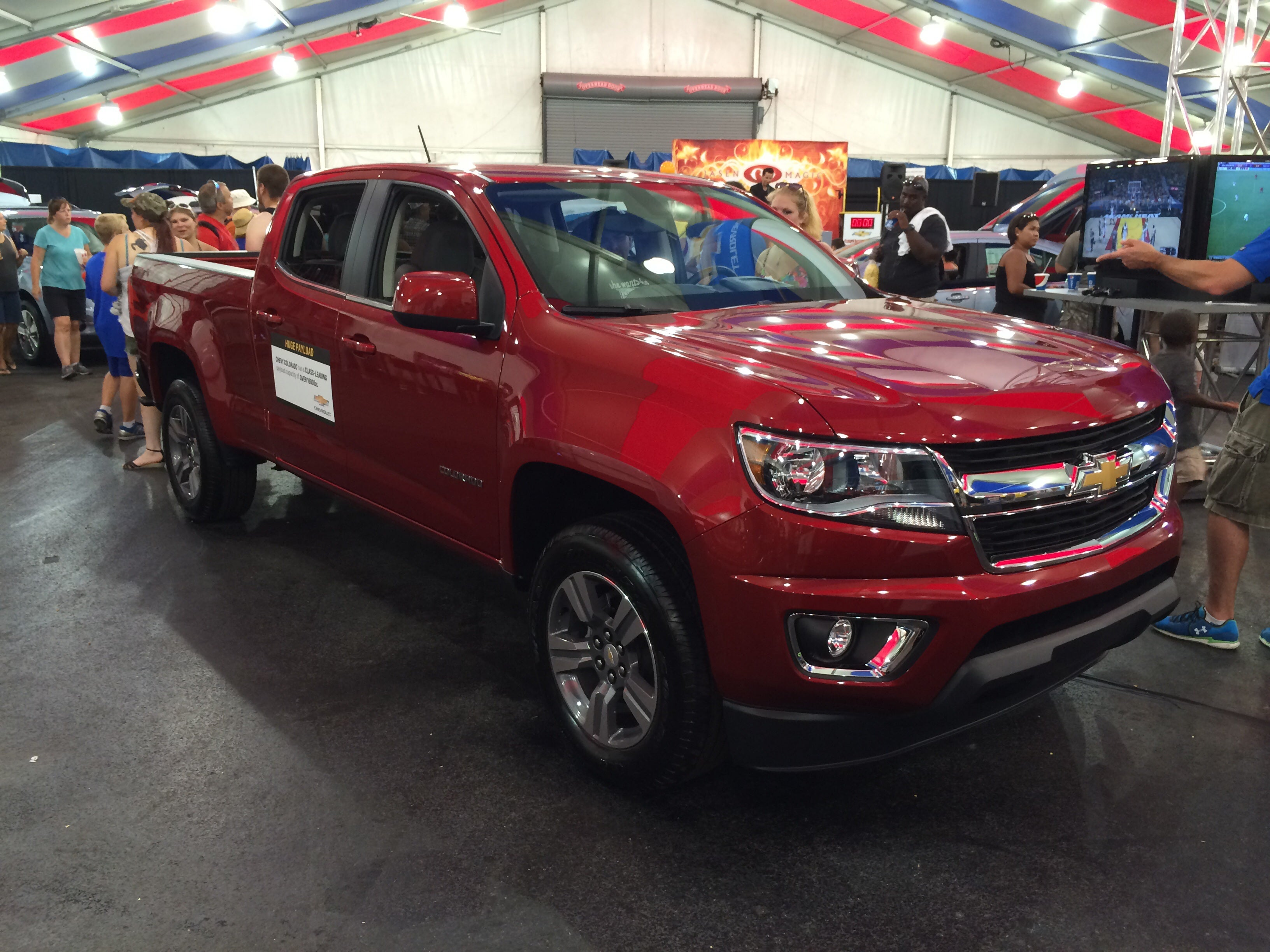 Much to my surprise inside the main display tent was an unlocked (and more importantly unguarded) 2015 Chevy Colorado. & Inside the 2015 Chevrolet Colorado
