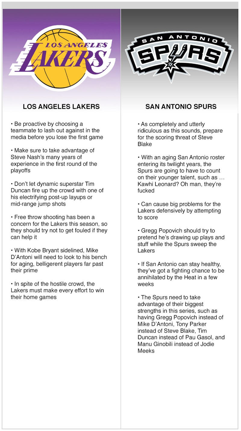 Illustration for article titled Lakers vs. Spurs