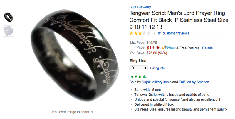 "Illustration for article titled Reviews For This ""Tengwar Script Men's Lord Prayer Ring"" Are Excellent"