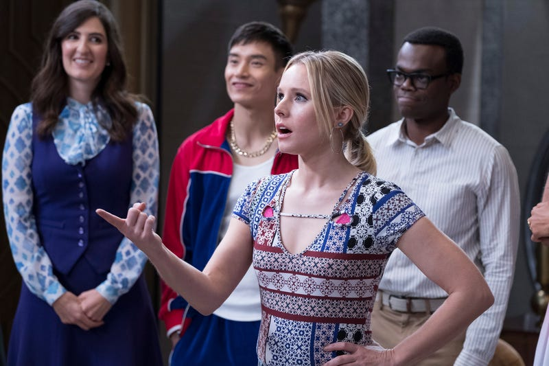 D'Arcy Carden (left), Manny Jacinto, Kristen Bell, and William Jackson Harper in The Good Place (Photo: Colleen Hayes/NBC)