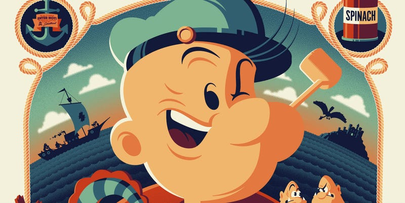 Illustration for article titled An Energetic, Colorful New Popeye Poster Definitely Ate Its Spinach