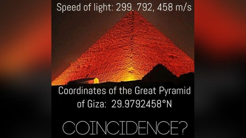 Illustration for article titled Es verdad: la velocidad de la luz coincide con las coordenadas de la Gran Pirámide (pero hay truco)