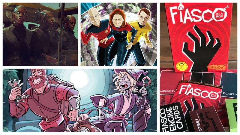 Clockwise from left: Cyberpunk 2077—Afterlife: The Card Game, Star Trek Chrono-Trek, Fiasco, and The Adventure Zone graphic novel.