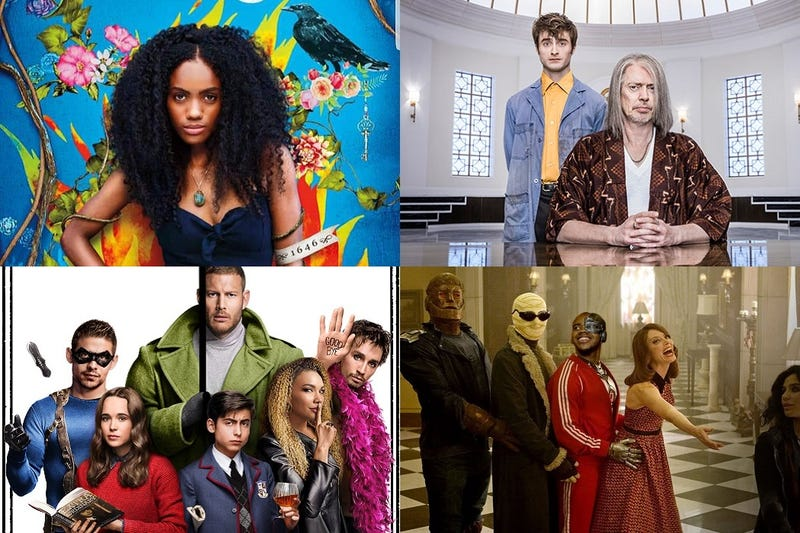 Clockwise from top left: Siempre Bruja: Always A Witch, Miracle Workers, Doom Patrol & The Umbrella Academy.