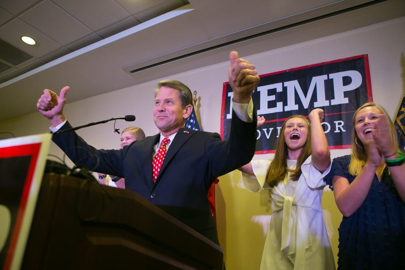 Secretary of State Brian Kemp addresses the audience and declares victory during an election watch party on July 24, 2018 in Athens, Georgia. Kemp defeated opponent Casey Cagle in a runoff election for the Republican nomination for the Georgia Governor's race.