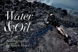 Illustration for article titled Vogue Italia's Awful Oil Spill Fashion Shoot