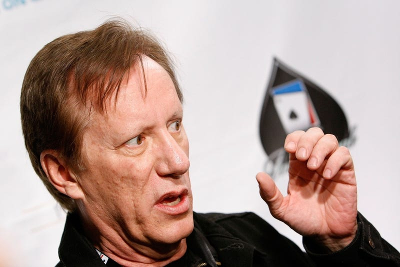 James Woods drinking from an invisible cup of liberals' tears at a poker tournament in 2008 (Photo by Michael Buckner/Getty Images)