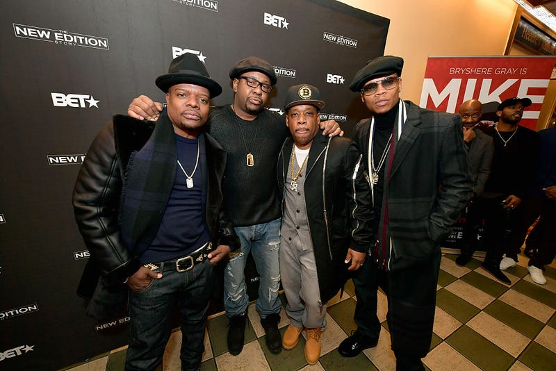 Ricky Bell, Bobby Brown, Michael Bivins and Ronnie DeVoe attend a Boston screening of The New Edition Story Jan. 8, 2017. (Marotta/Getty Images for BET)