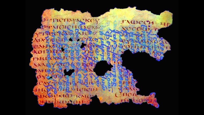 A multispectral image of a mid-5th century CE document representing 1 Corinthians. Erased text appears in red. See natural-color image below for comparison.